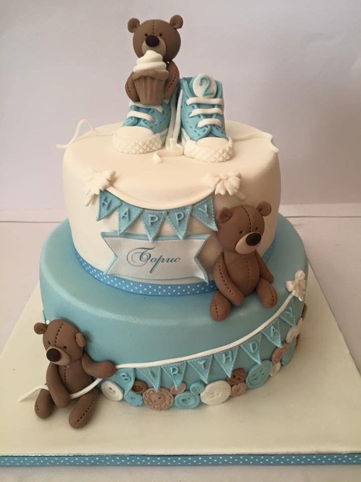 Baby boy Teddy bear birthday shower cake Baby boy birthday shower
