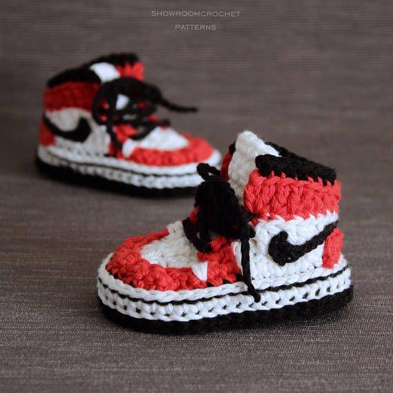 Patrón crochet zapatillas Air Jordans para bebe | cosas | Pinterest ...