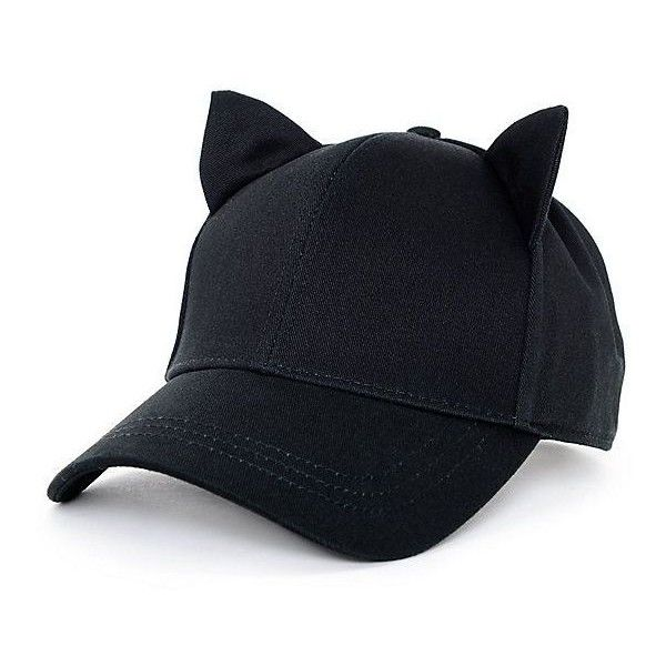 Empyre Cat Ear Onyx Black Strapback Hat ❤ liked on Polyvore featuring  accessories d50b7773a581
