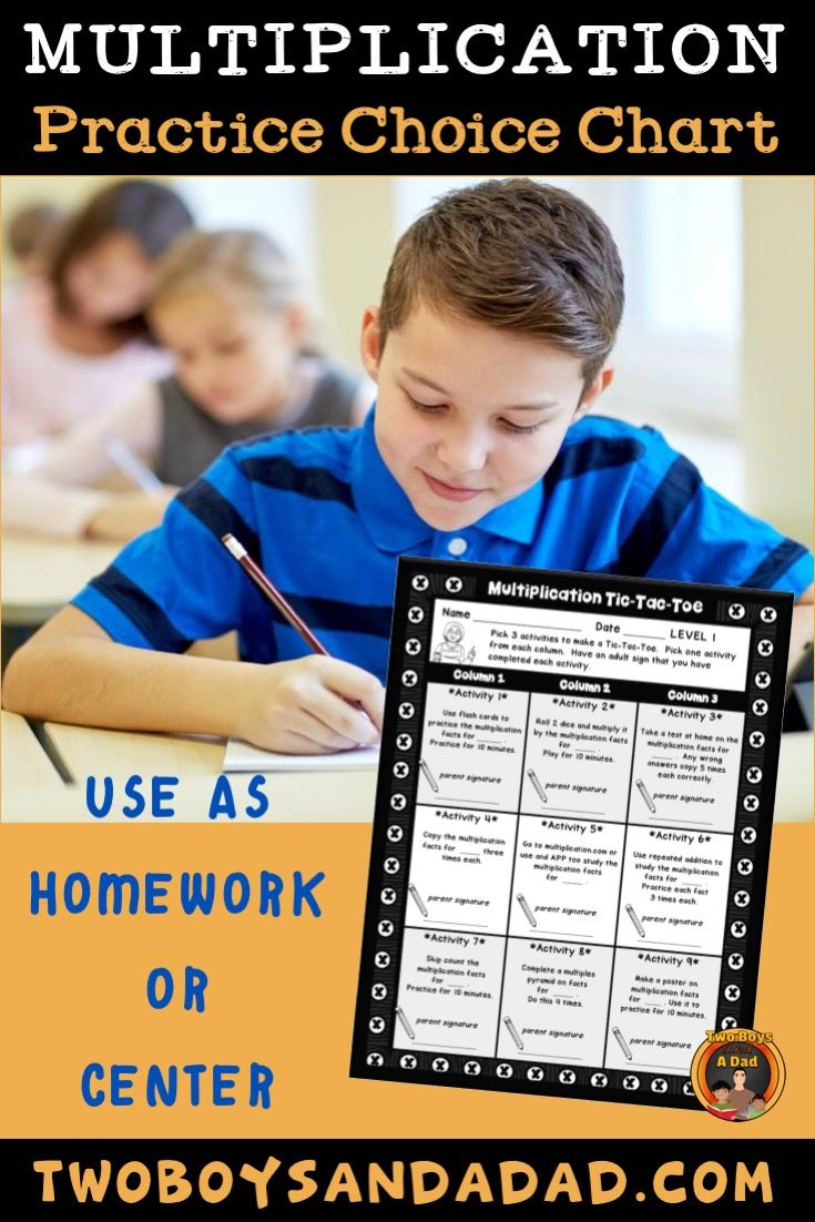 Multiplication homework activity chart homework
