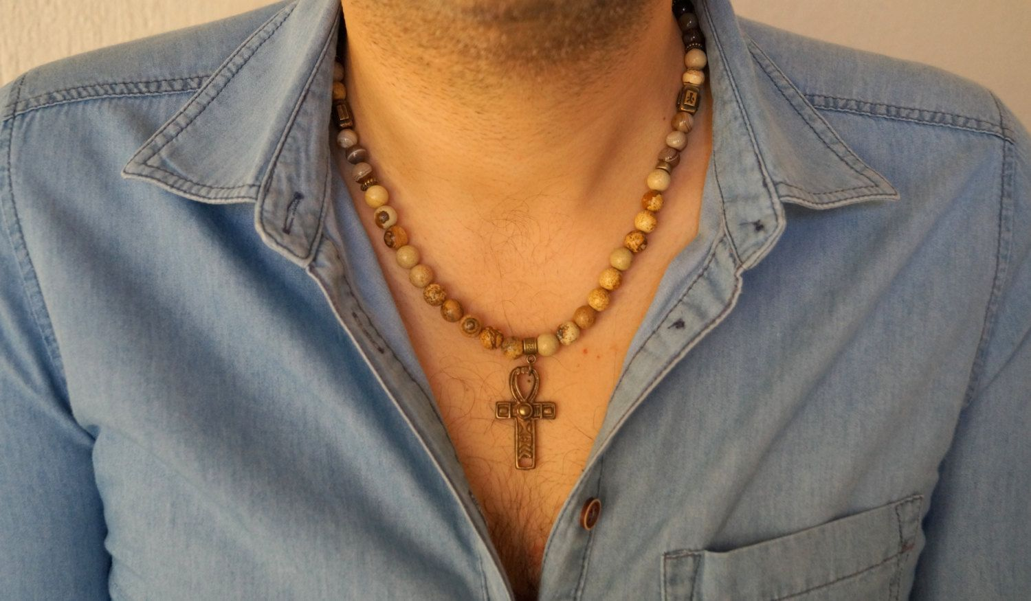 Mens beaded necklacePicture jasper cross necklaceHealing jewelryJewelry for menGemstone necklaceValentines dayFathers dayChristmas