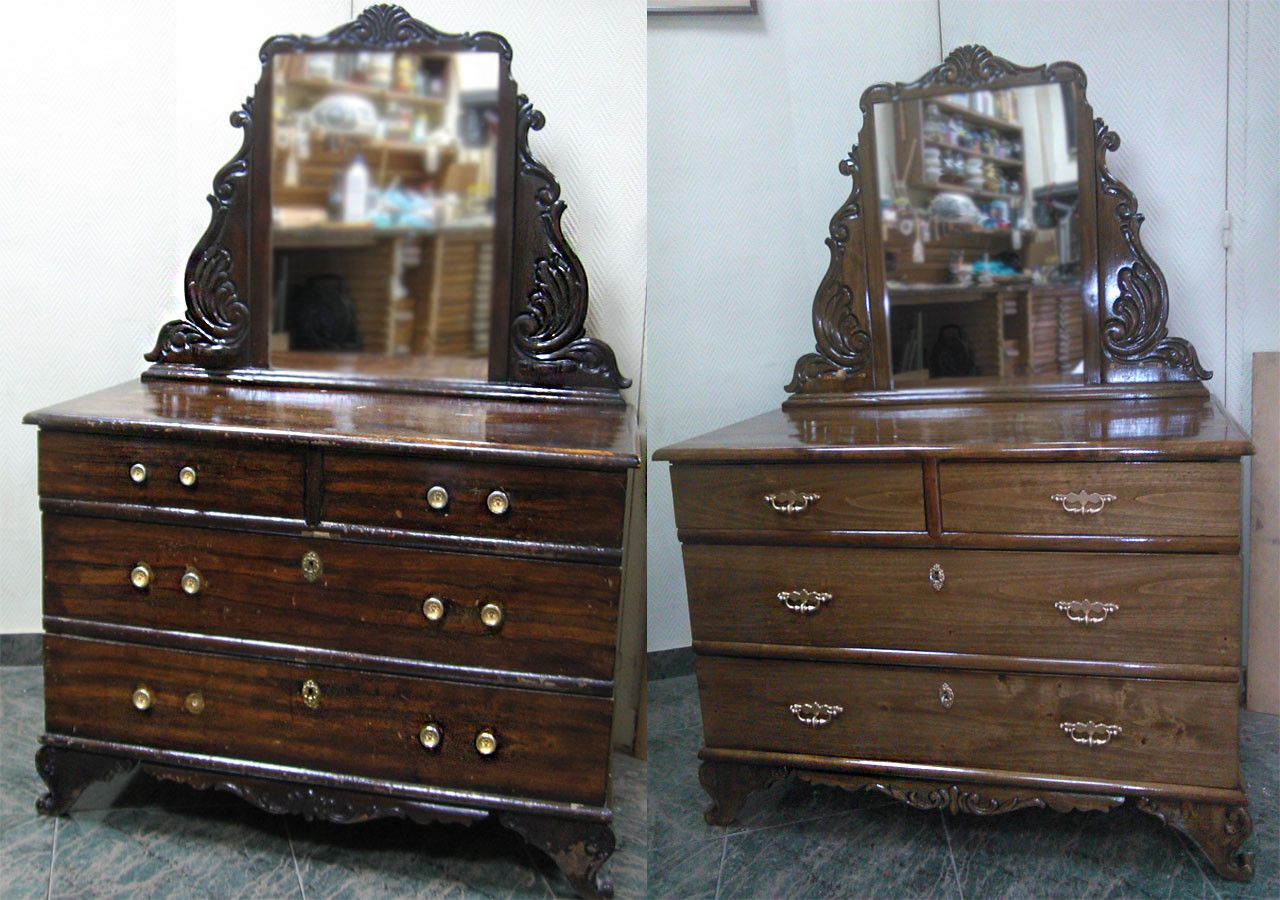 Coqueta Con Espejo Principios Siglo Xx C Modas Restauradas  # Muebles Nauticos Antiguos