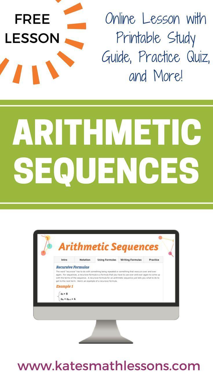 Arithmetic Sequences   Arithmetic, Algebra and Algebra lessons