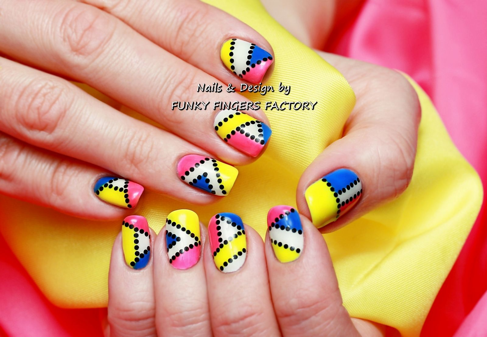 Gelish Pop Art Nail Art By Funky Fingers Factory Fabulous Nails
