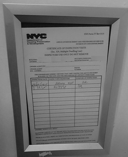 HPD Certificate of inspection visits frame 6 X 9 (Heavy Duty