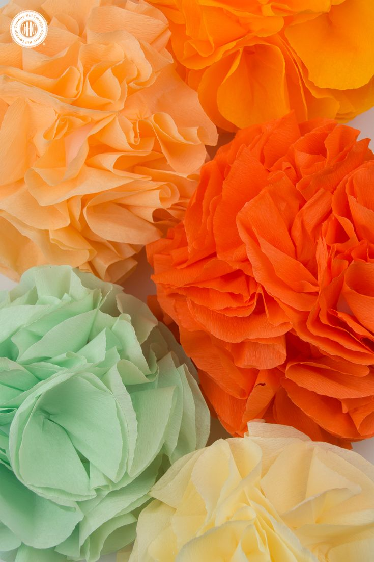Wedding decorations using crepe paper  Ruffle Pom Poms with Paper or Fabric  Pom poms and Ruffles