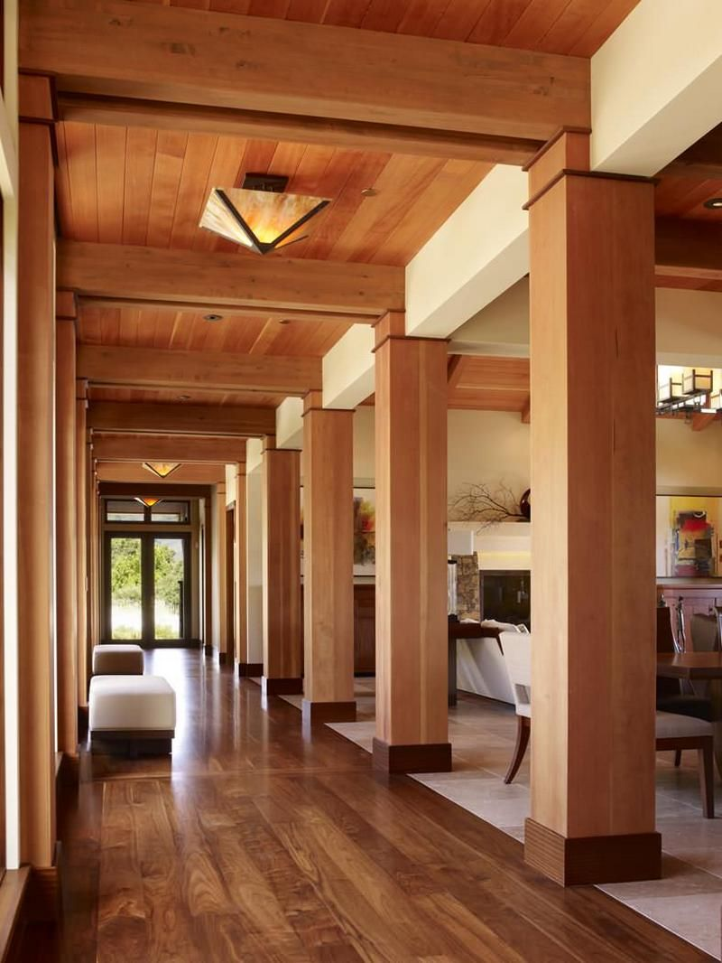 Contemporary open hallway with wooden columns and ceiling | Hall ...