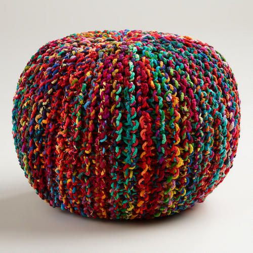 Multicolored Knitted Sari Pouf At Cost Plus World Market