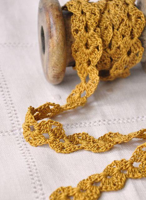 Lace ribbon Orange lace trim Handcrochet cotton lace edge