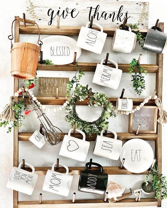 Wood Mug Rack Display, Custom Wall Racks, Rustic Home Decor, Farmhouse Decor, Kitchen Organizers, mug rack