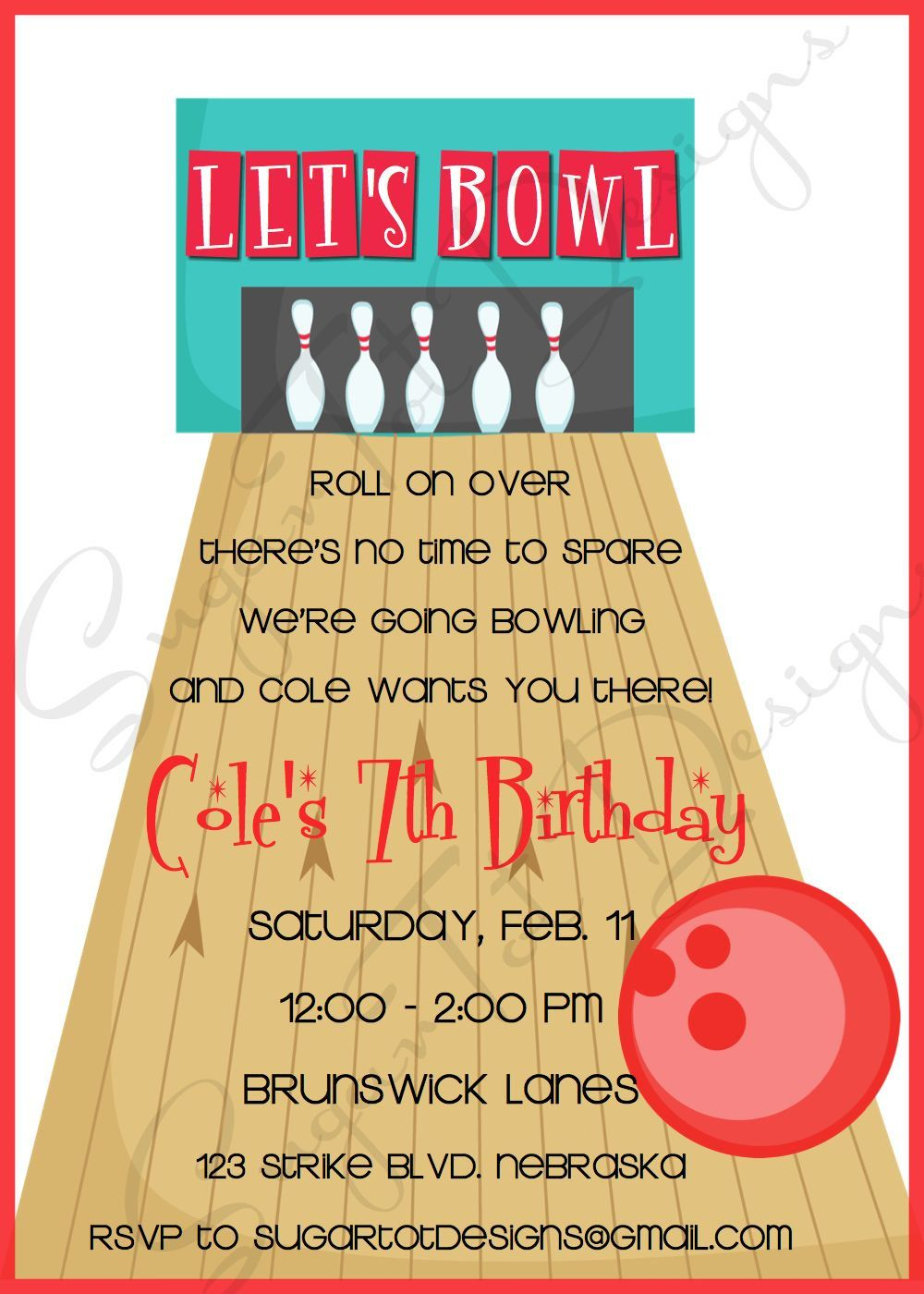 Birthday Party Invitation  Lets Go Bowling  Boy  Red And Teal