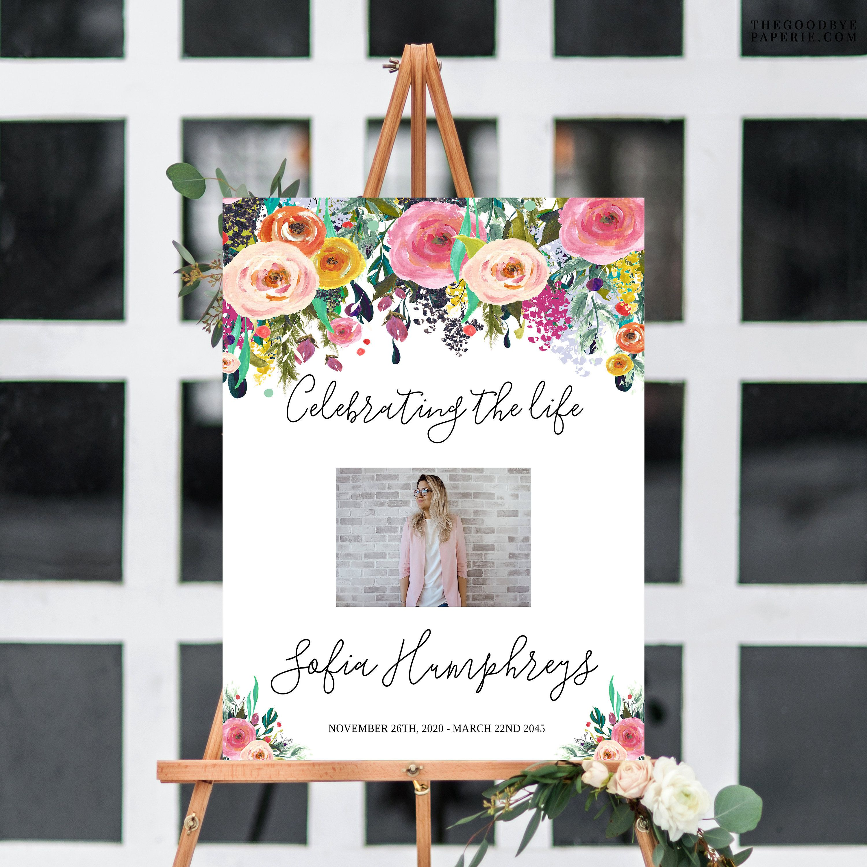 Floral Celebration Of Life Decorations Memorial Service Ideas Funeral Sign Funeral Poster Funeral Decor Memorial Decorations Large Funeral Posters Celebration Of Life Memorial Service