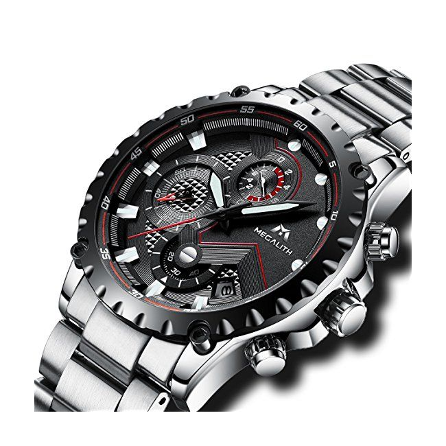 dd31ca8ed4e Mens Black Military Stainless Steel Watches Men Waterproof Sport  Chronograph Luxury Day Date Calendar Tough Wrist Watch Casual Business Unique  Design Heavy ...