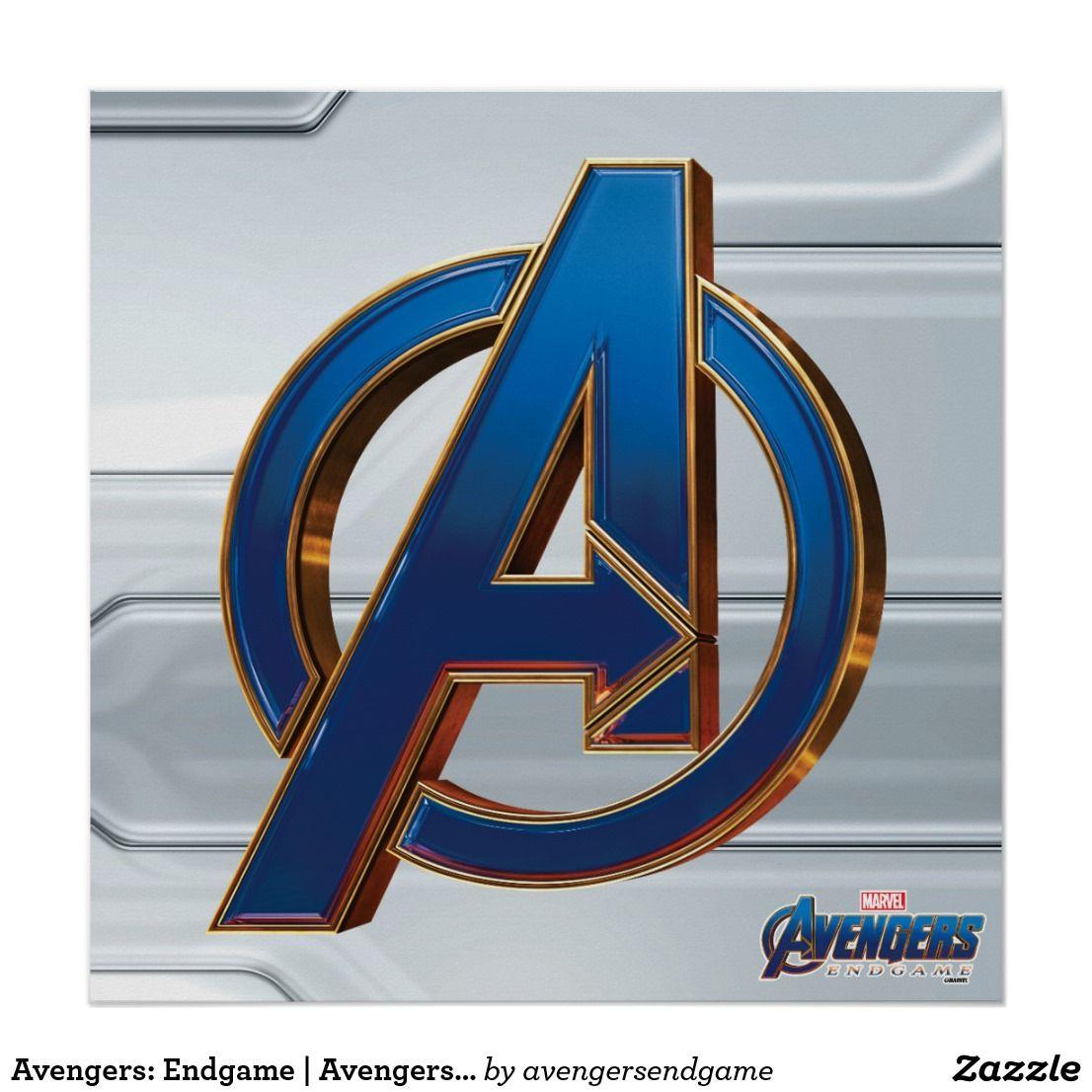Avengers Endgame Avengers Blue Gold Logo Poster Avengers Logo Avengers Avengers Symbols