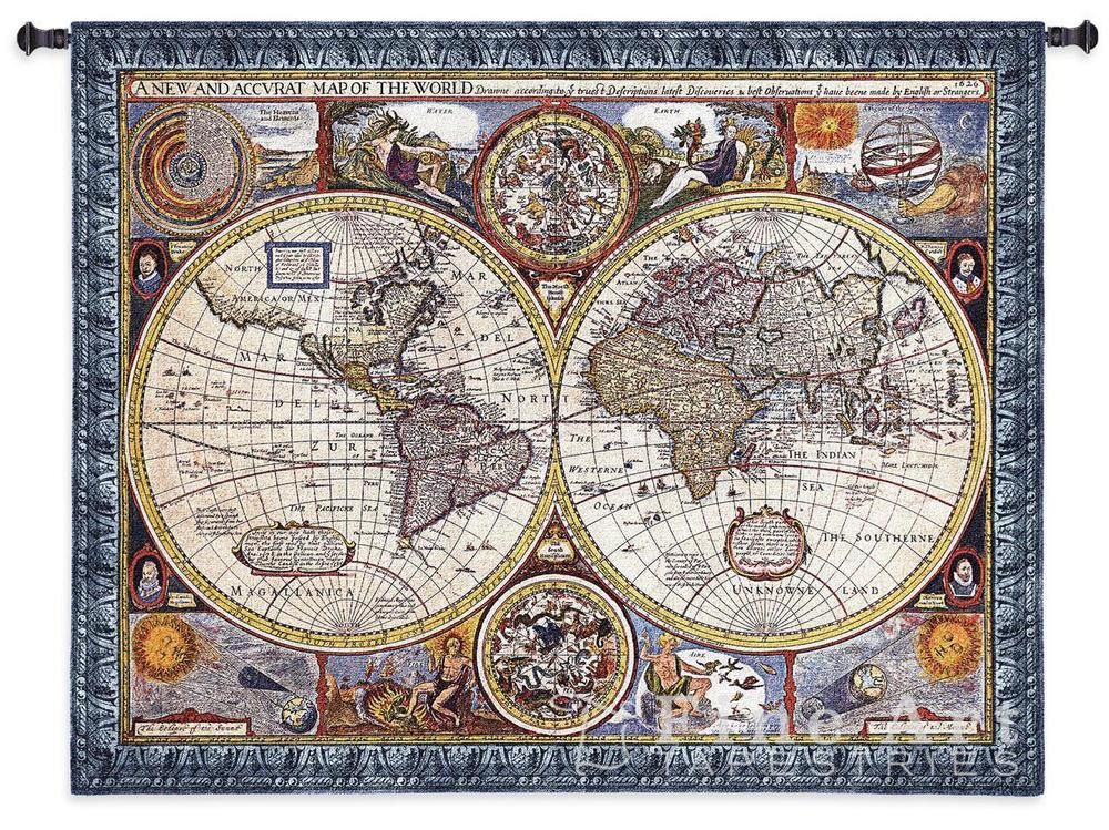 ANTIQUE WORLD MAP TAPESTRY * Olde World Globe Countries Large 67x53 - new antique world map images