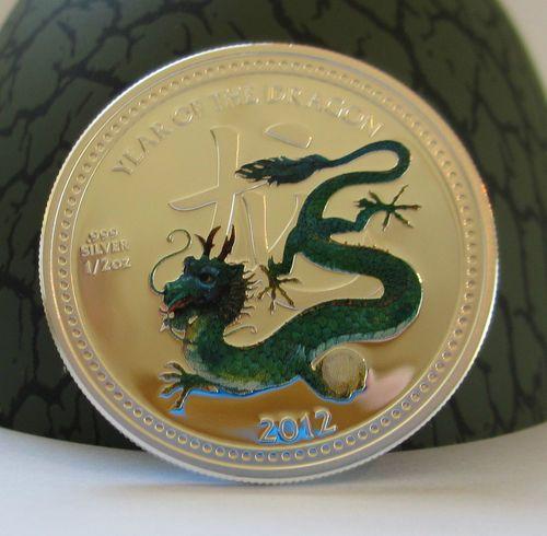 2012 Niue Lunar Pearl Dragon Coin in Egg Box Case 1//2 oz Proof .999 Silver Coin
