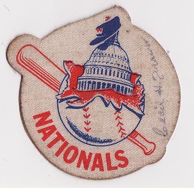 "1950's Washington Senators Cloth Sticker Autographed by Cecil Travis. 3"" in diameter."