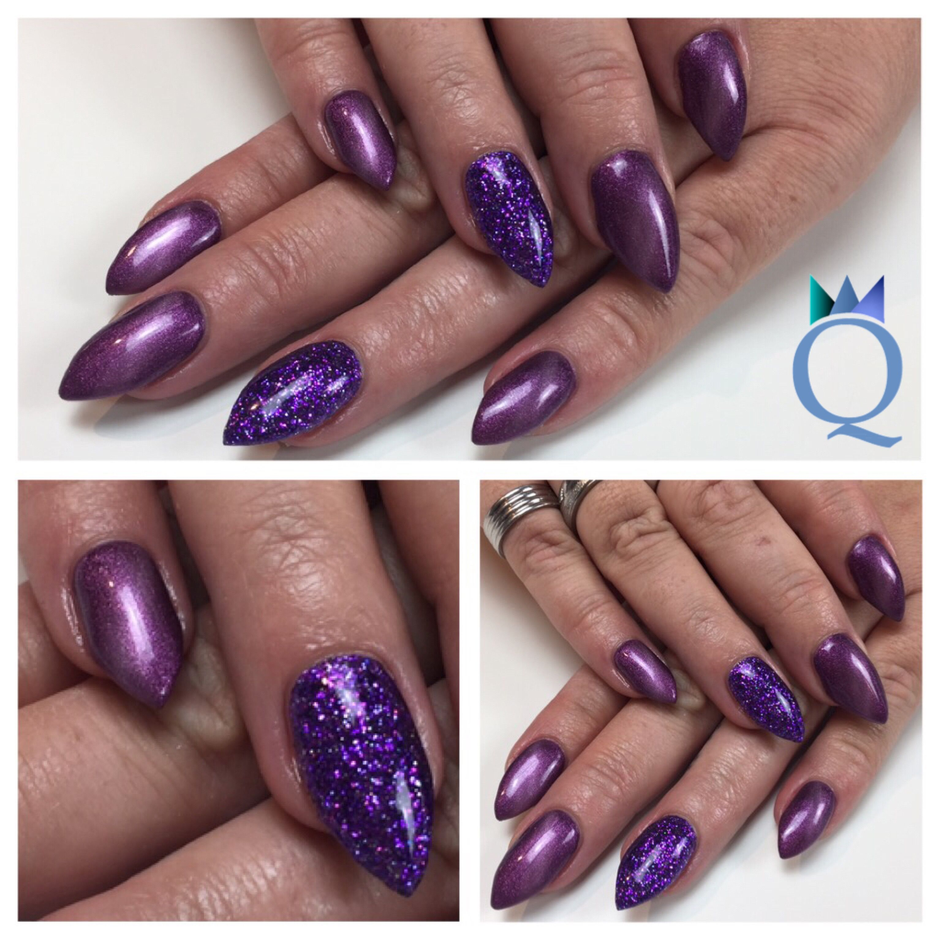 Babystilettos Gelnails Nails Purple Glitter Cateye Akyado