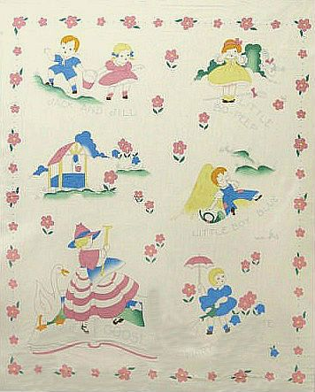 Fabric Depot Vintage Nursery Rhymes Panel Quilts Baby