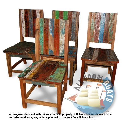 Houseboat Furniture And Accessories: German Chair Made From Reclaimed Boat Timber. Nautical