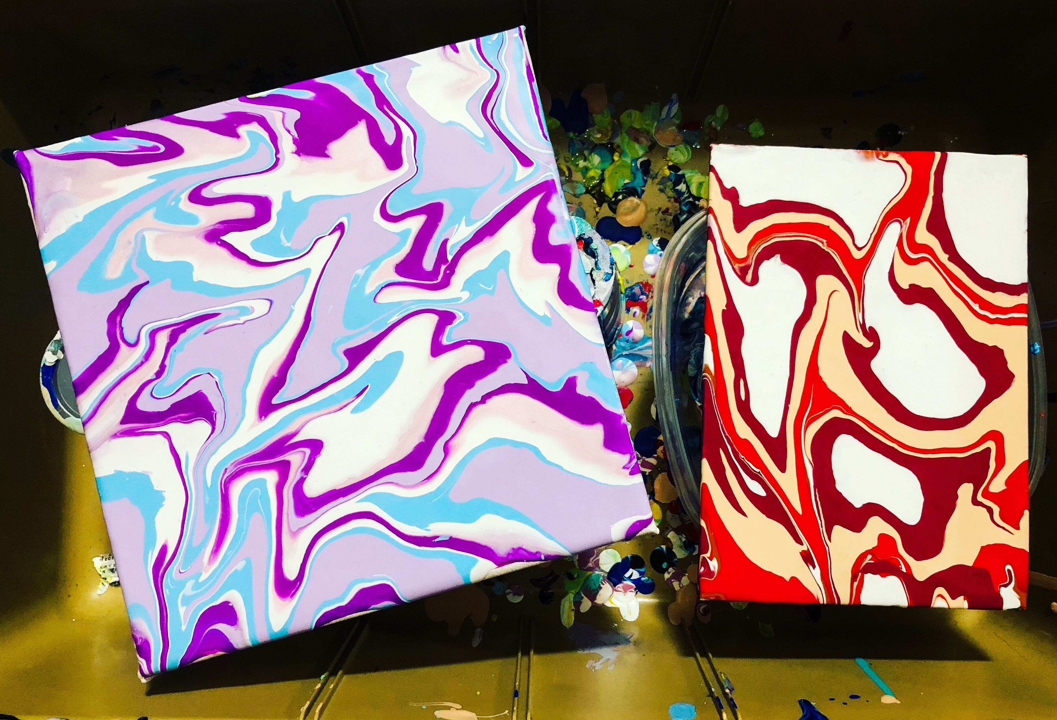 Fluid art relaxing wall decor acrylic pour purple red
