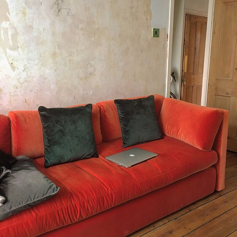 Original Hay Hackney Sofa Kvadrat Burnt Orange Velvet Fabric