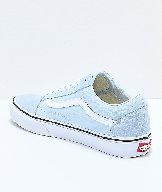 48e8367a3c77d5 Vans Old Skool Baby Blue   True White Shoes in 2019