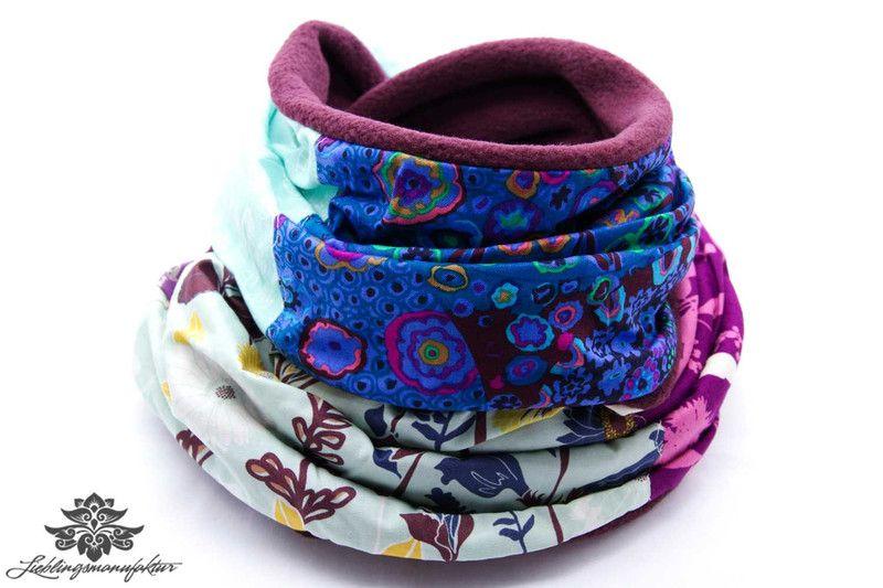 Winter Schlauch-Schal mit Fleece von #Lieblingsmanufaktur: weinrot, dunkelblau und helles Türkis