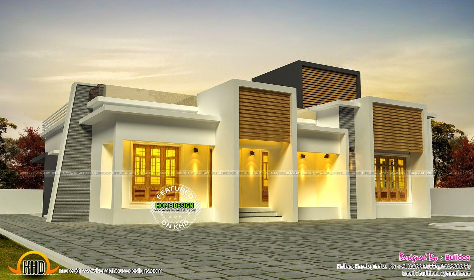 Flat roof elevation of single storied 2 bedroom house for Kerala home design flat roof elevation