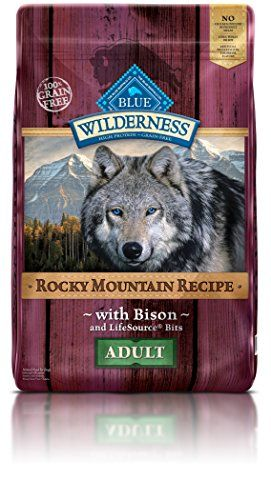BLUE Wilderness Rocky Mountain Recipe Adult Grain Free Bison Dry Dog Food 22-lb - Blue buffalo wilderness dry puppy food inspired by the diet of wolves, true omnivores whose endurance is legendary, blue wilderness puppy is a grain-free, protein-rich food that contains more of the delicious chicken your puppy loves. Formulated specifically to help meet the important needs of gr...