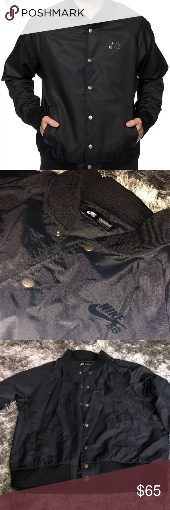 9beb0d896f5f Nike SB Davis Satin Bomber Jacket sz L Nike SB jacket preowned. There is  some wear on the inside sleeves (pictured). Nothing on the outside.