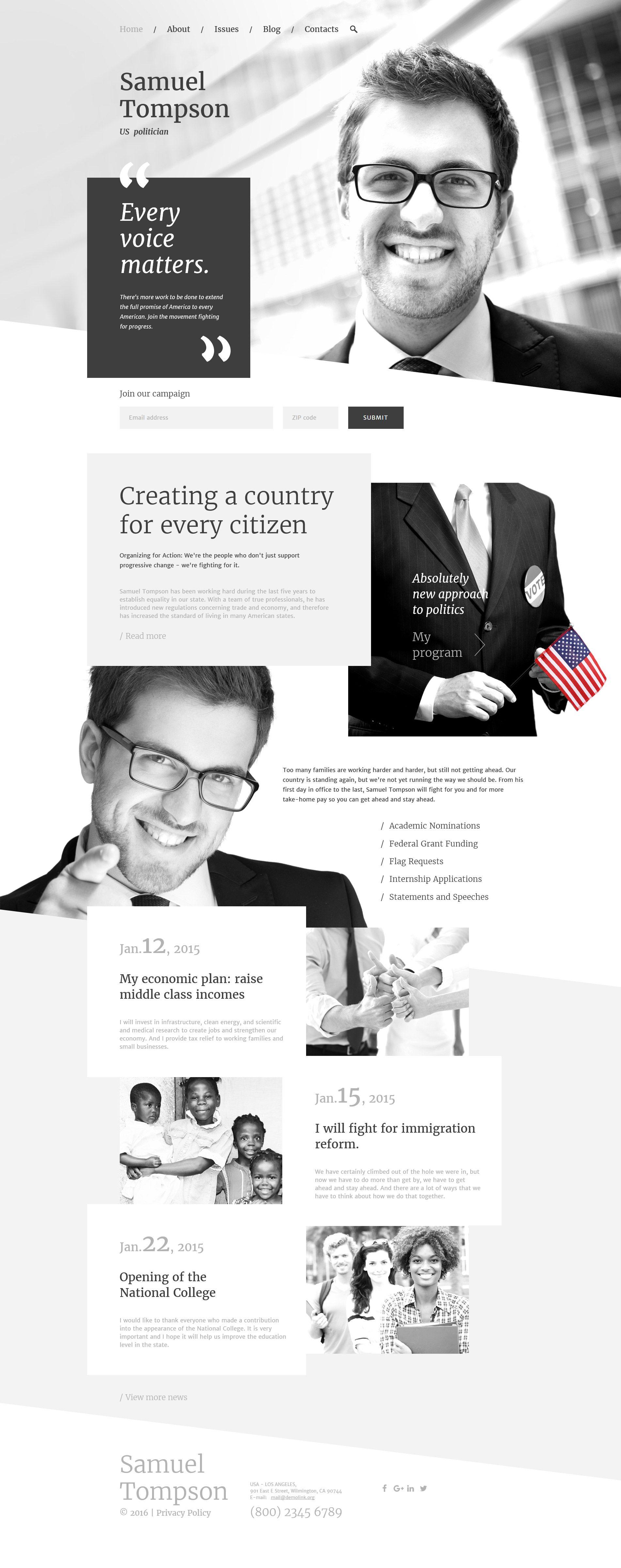Political Candidate Responsive Website Template Webdesign