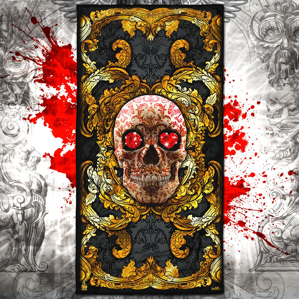 Photo of Gold Red Skull Beach Towel / Gothic Towel