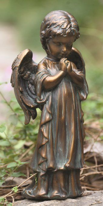 Bronze Praying Cherub Angel Home Garden Statue Memorial Gazebo Koi