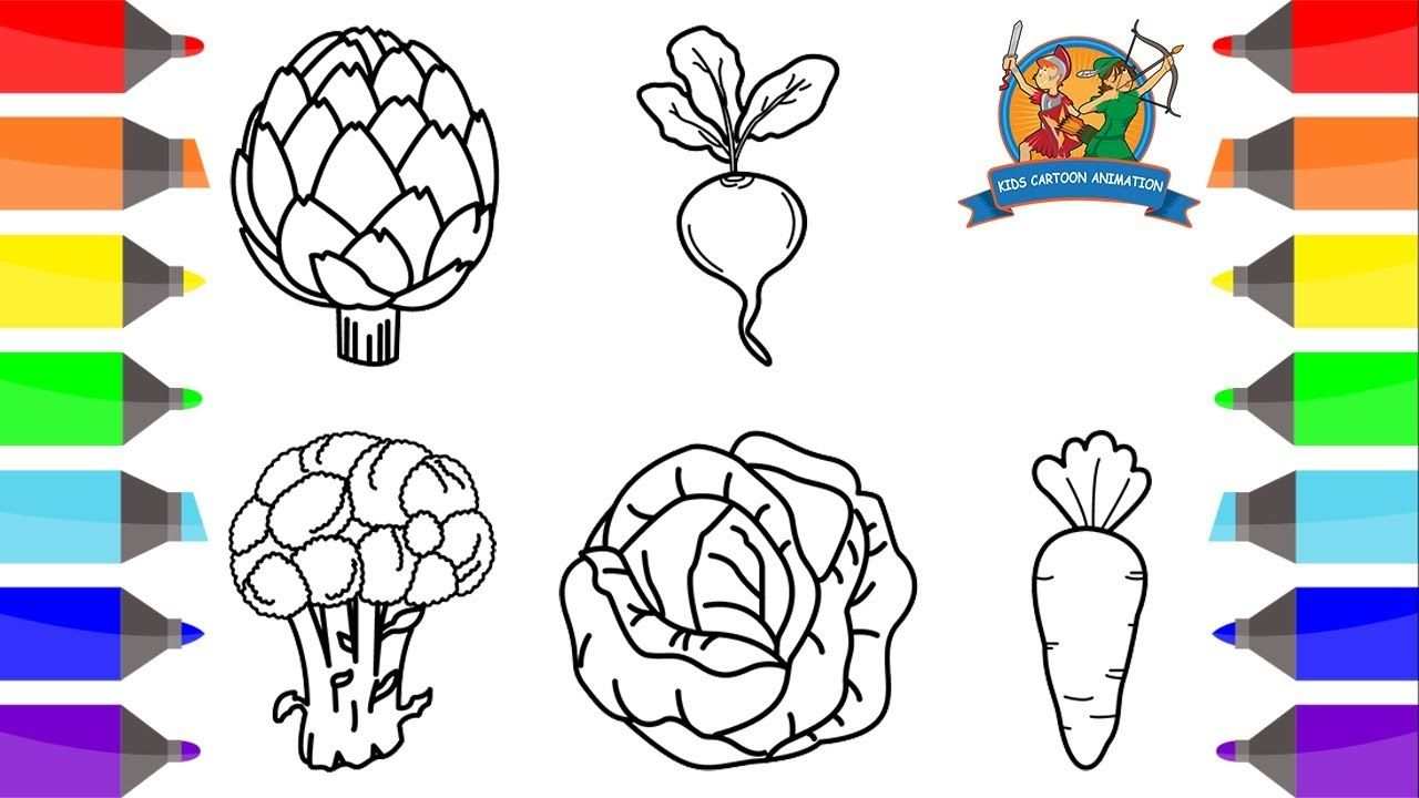 How To Draw Vegetables For Kids Part 1 Kids Coloring Pages Easy