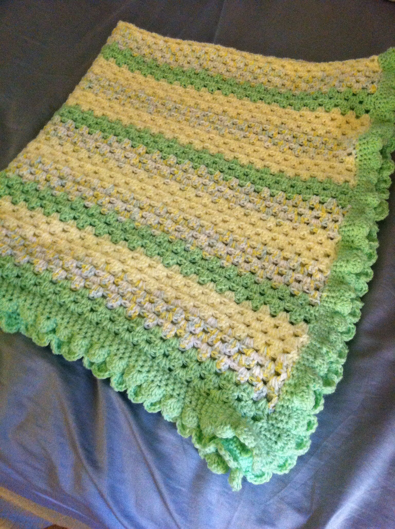 Granny stitch with scalloped edge crochet baby blanket. | Fancy ...