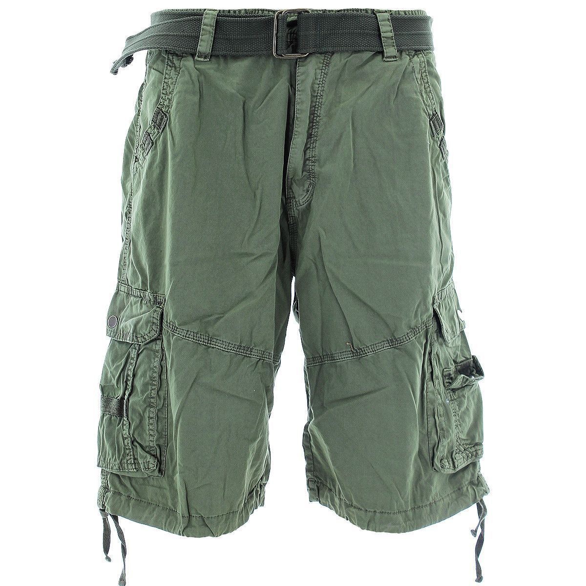 S.A.S.C.O. Trading Inc. - Men's Belted Snap Button Cargo Shorts - Light Olive