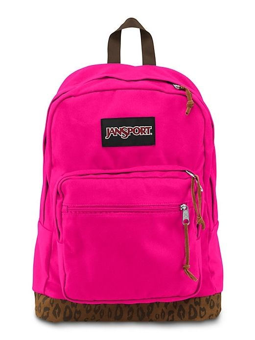 The new JanSport Right Pack Expressions Backpack in Cyber Pink Leopard  features a laptop sleeve and the signature suede leather bottom. b823eb01d33c3