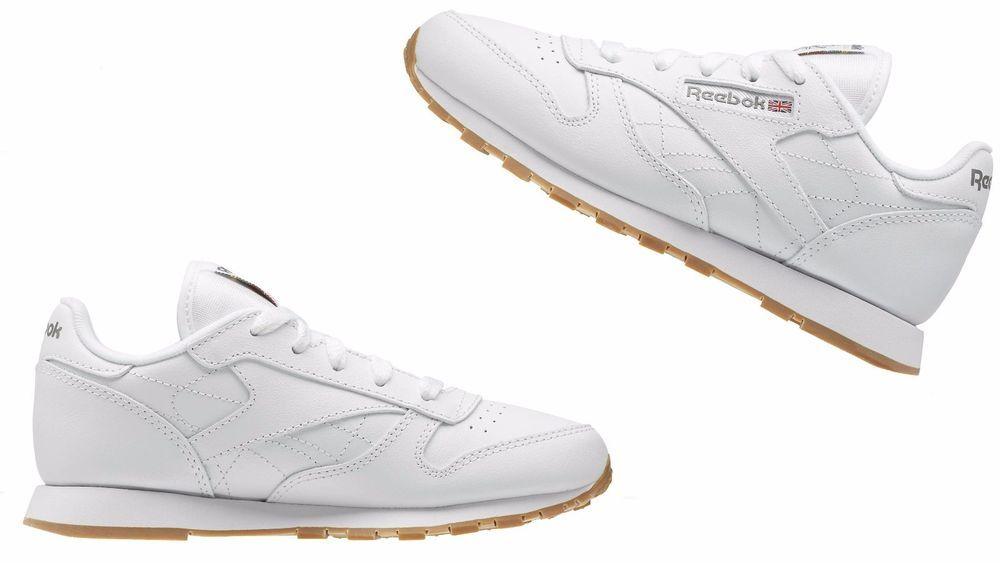 7d11d7d1420f Reebok Kids (GS)Grade school Classic Leather Casual Shoes wht Gum V69624
