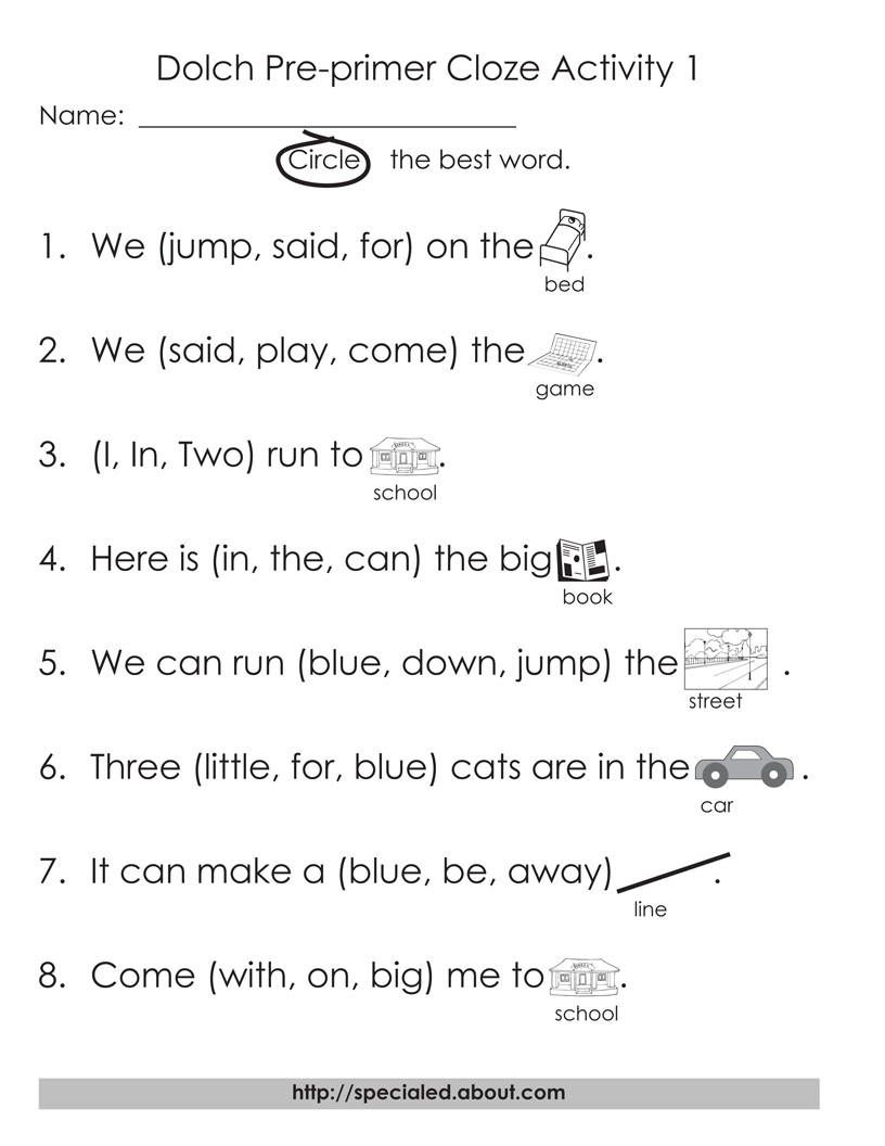 12 Worksheets to Help Young Students Learn Dolch High-Frequency Words    Cloze activity [ 1056 x 816 Pixel ]