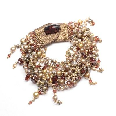 "Bracelet, Garnet, Freshwater Pearls, Vintage Czech Glass Button, 8.25"" Long from…"