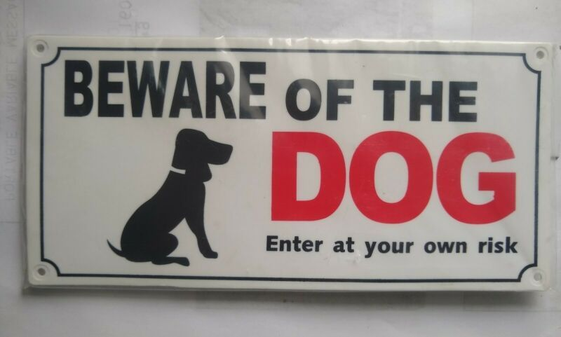 Beware Of Dog Sign Hard Plastic W Screws Black Red Lettering Free Ship In 2020 Beware Of Dog Dog Signs Lettering