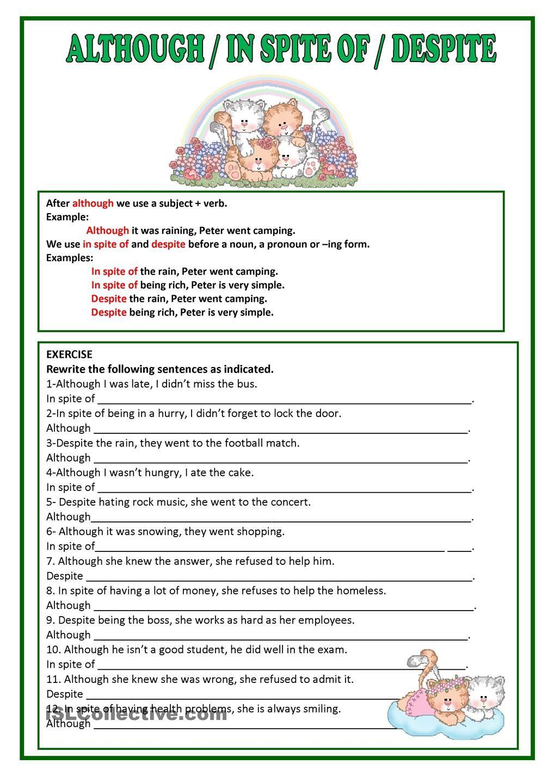 Although Despite In Spite Of Linking Words Grammar Lessons English Grammar Worksheets