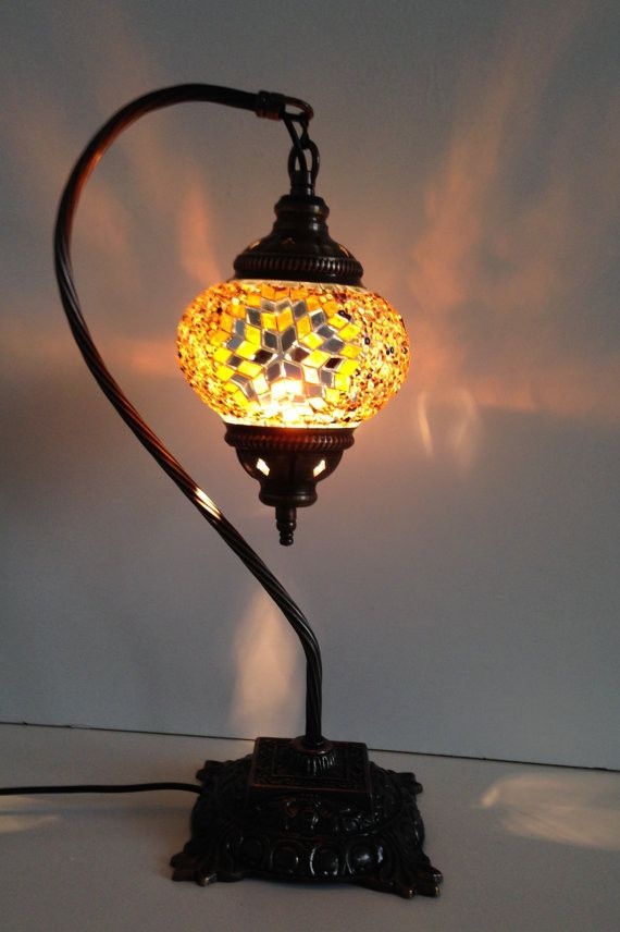 Gold Swan Neck Mosaic Lamp With Vintage Look Square Base
