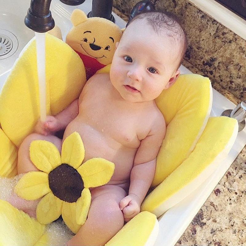 HappyBaby Soft Sponge Folding Portable Baby Bath Tub Sunflower Pad ...