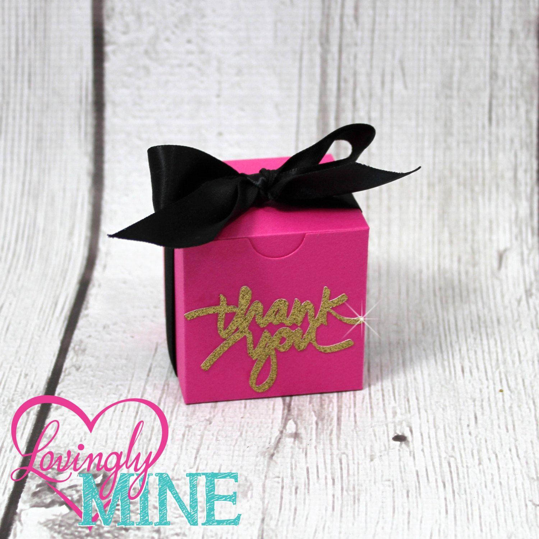 Hot Pink White Glitter Gold Medium Box Favors Boxes 10 Boxes