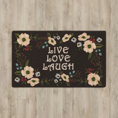 "Charlton Home Amberwood Black ""Live, Love, Laugh"" Area Rug"