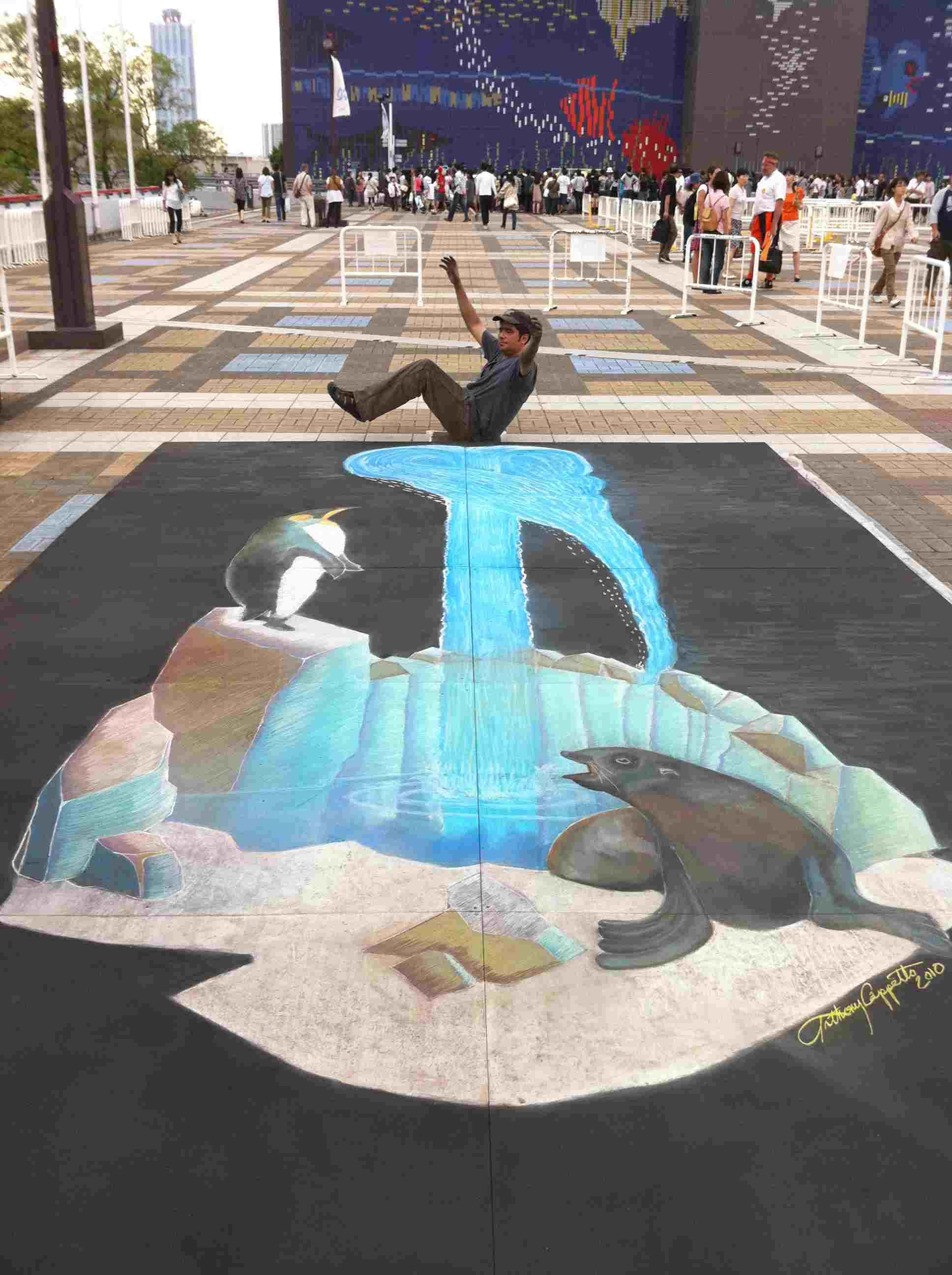 3d Chalk Art 'ice Fountain' In Osaka Japan Anthony Cappetto Afah