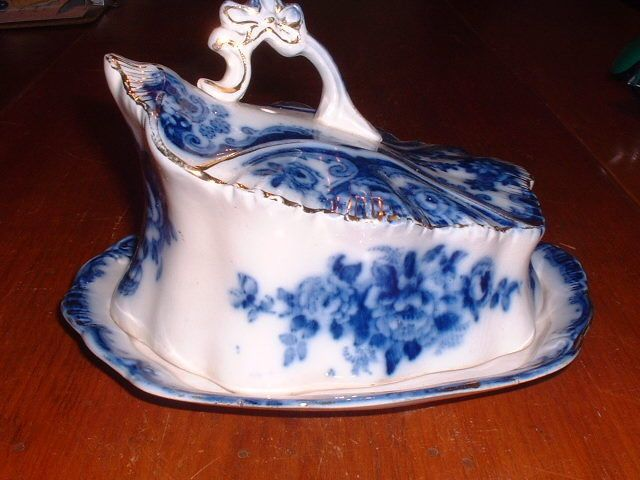 Antique TR&Co. (Thomas Rathbone & Co.) Flow Blue Covered Cheese Dish C 1890-1910 #THOMASRATHBONECOMPANY