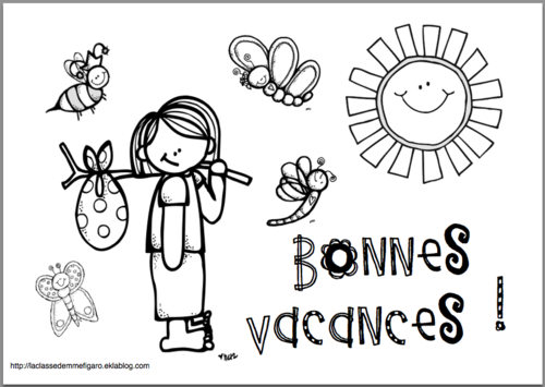 Coloriage Bonnes Vacances Mme H Fêtes Dernier Jour D